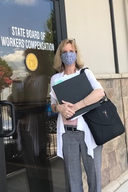 Nancy Glenn represents clients at the first in-person Workers' Compensation hearing in Georgia since March.